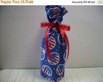 July Sale Patriotic Wine Bottle Gift Bag Peace Signs 4th of July