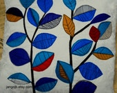 "Pillow Cover 16"" x 16"" Beautifully Graphic Blue Leaves on this Colorful Handmade Pillow Cover"