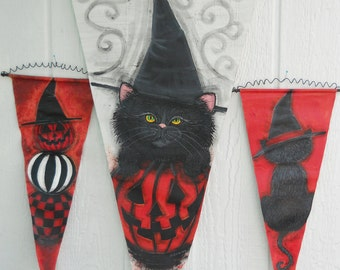Halloween Decorations Three Banners Painted Just For You...Black Cat in a WItchy Hat + Stacked Pumpkins + Halloween Kitten