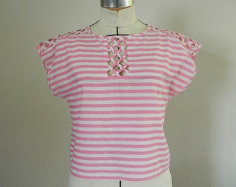 Vintage summer blouse, pink and white stripes, slip on, shorty top, You Babes, 1980s, medium, large