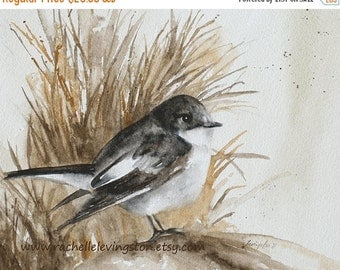 Watercolor bird painting watercolor bird illustration bird vintage painting bird wall decor art print 11x14 Flycatcher beige brown grey gray