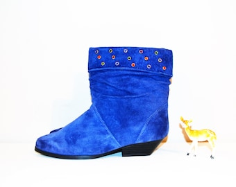 Vintage Boots Urban Royal Blue Slouchy  1980's