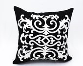 Damask Pillow Cover, Black Linen  White Damask Embroidery, Black & White Pillow Cover, Decorative Throw Pillow Cover, Pillow Case, Cushion