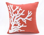 Nautical Coral Pillow Cover, Coral Linen White Coral Embroidery, Nautical Pillow, Coral Home decor, Cottage pillow, Decorative throw pillow