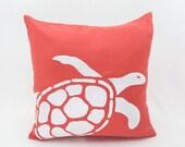 Turtle Pillow Cover, Coral Linen Pillow White Turtle Embroidery, Nautical Pillow Case, Sea Life Decor, Coastal Couch Pillow, Home Decor