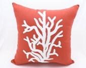 Nautical Coral Pillow Cover, Orange Linen White Coral Embroidery, Coastal Decor, Cottage Beach Decor, Coral Decor, Decorative Throw pillow