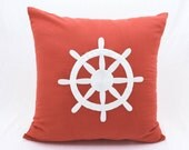 Ship Wheel Pillow Cover, Sailing Decor, Coral Linen White Ship Wheel Embroidery, Nautical home decor, Coastal Decor, Cottage Pillow, Cushion