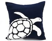 Sea Turtle Pillow, White Sea Turtle Embroidery  Navy Blue Linen Pillow, Sea Life Pillow, Nautical Decor, Beach Cottage Decor, Accent Pillow