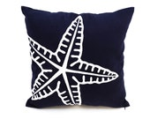 Starfish Pillow Cover, Starfish Embroidery Navy Blue Linen Pillow, Nautical Decor, Coastal Pillow, Sea Life Decor, Nautical Pillow, Cushion