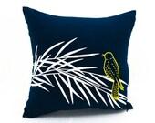 Bird on Bamboo Pillow Cover, Cushion Cover, Linen Pillow, Decorative Throw Pillow Cover, White Bird, Navy Blue Pillow, Custom Pillow Case