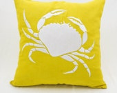 Crab Pillow Cover, Throw Pillow Cover, Nautical Cushion, Toss Pillow, Yellow Linen White Crab, Embroidered, Coastal Decor, Couch Pillow