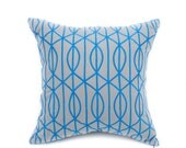 2 Custom Trellis Pillow Cover, Navy Blue Linen Red Wine Trellis Embroidery, Pillow Case