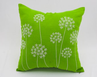 Queen Ann Pillow Cover, Green Linen White Queen Ann Embroidery, Floral Pillow Case, Couch Pillow, Flower Cushion Cover
