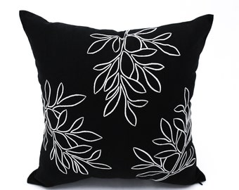 Leaf Pillow Cover, Floral Pillow Case, Black Linen Off White Leaf Embroidery, Tree Couch Pillow, Botanical pillow, home living decor