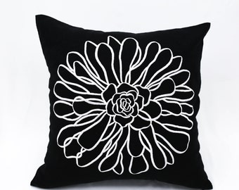Flower Pillow Cover, Decorative Throw Pillow Cover, Couch Pillow Cover Black Linen Off White Flower Embroidery, Pillow Case, Cushion