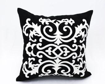 Damask Pillow Cover, Black Linen  White Damask Embroidery, Black & White Pillow Cover, Decorative Throw Pillow Cover, Pillow Case, Cushion