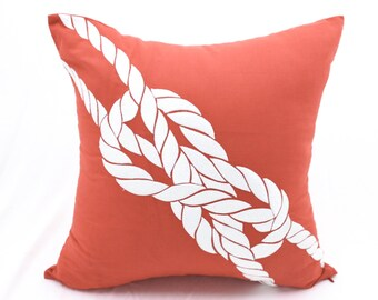 Rope Pillow Cover, Sailing Decor, Coral Linen White Rope Embroidery, Nautical home decor, Coastal Decor, Embroidered Nautical,Cottage Pillow