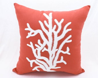 Nautical Coral Pillow Cover, Orange Linen White Coral Embroidery, Coastal Decor, Cottage Beach Decor, Coral Decor, Decorative Throw pillow