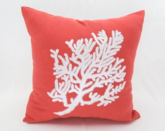 Coral Throw Pillow Cover, Coral Linen White Coral Embroidery, Nautical Pillow, Coral Decor, Cottage Beach Pillow, Coastal Decor,Toss pillow