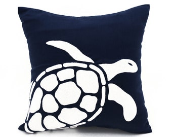 Sea Turtle Pillow, White Sea Turtle Embroidery  Navy Blue Linen Pillow, Sea Life Pillow, Nautical Decor, Beach Cottage Decor, Accent Pillow