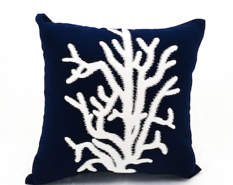 Coral pillow cover, navy throw pillow,pillow cases, embroidered pillow, decorative pillows for couch, nautical items, coral decor