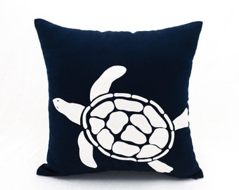 Sea Turtle Pillow Cover, Navy Blue Pillow Case Turtle Embroidery, Nautical Decor, Coastal Couch Pillow, Sea Life Decor, Decorative pillow