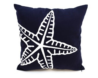 Starfish Pillow Cover, Starfish Embroidery Navy Blue Linen Pillow, Nautical Decor, Coastal Pillow, Sea Life Decor, Nautical Pillow, Cushion