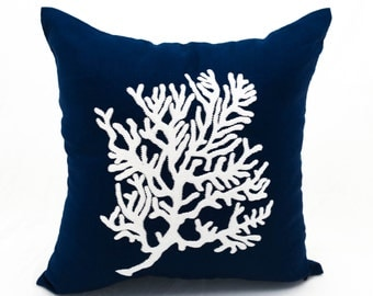 Coral Throw Pillow Cover, Navy Blue Linen White Coral Embroidery, Couch Pillow,Nautical Decor, Coastal Pillow, Cottage Beach Decor, Cushion