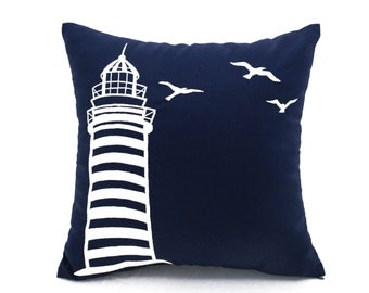 Lighthouse Pillow Cover, Navy Blue  Linen White Lighthouse Embroidery, Sailing Decor, Nautical Pillow, Coastal Decor, Beach Cottage Pillow