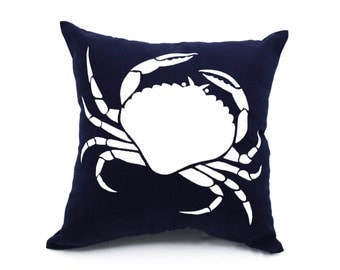 Crab Couch Pillow, Navy Blue Pillow White Crab, Nautical Decor, Embroidered Pillow, Crab Decorative Throw Pillow Cover, Sea Life Decor