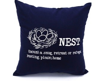 Nest Pillow Cover, Decorative Pillow,Throw Pillow Cover, Navy Blue Linen Pillow, White Nest, Embroidered Pillow, Bird Pillow, Cushion Cover