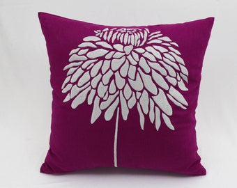 Peony Throw Pillow Cover, Dark Purple Linen Silver Gray Flower, Embroidered Pillow, Floral Couch Pillow, Floral Bedding, Flower Toss Pillow
