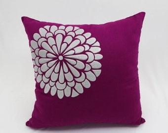 Silver Floral Pillow Cover, Dark Purple Linen Gray Silver Flower, Embroidered Pillow Case, Modern Contemporary Throw Pillow, Cushion Cover