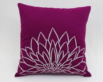 Decorative Pillow Cover, Dark Purple Linen Pillow, Gray Silver Lotus, Embroidered, Pillow Accent , Cushion Cover