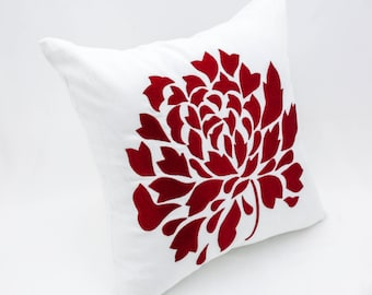 white red pillow cover white linen red flower embroidery white throw pillow floral