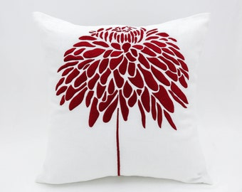 Peony Pillow Cover, White Linen Red Floral Embroidery, White Red Pillow, Embroidered Flower, Floral Toss Pillow, Modern Home Decor