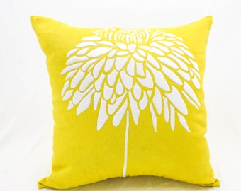 Peony Pillow Cover Yellow Linen White Peony Embroidery, Decorative Throw Pillow Cover, Cushion Cover, Home Decor,Couch Pillow
