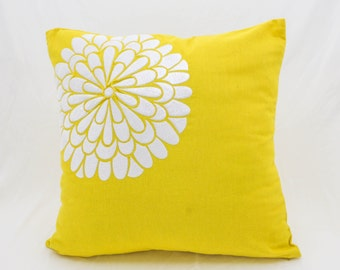 Yellow Pillow Cover, Floral Decorative Pillow, Yellow Linen White Flower Embroidery, Floral Cushion, Home Decor, Modern Toss Pillow