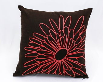 Throw Pillow Cover , Decorative Pillow Cover, Embroidered Pillow, Dark Brown  Linen pillow, Orange Flower, Home Decor