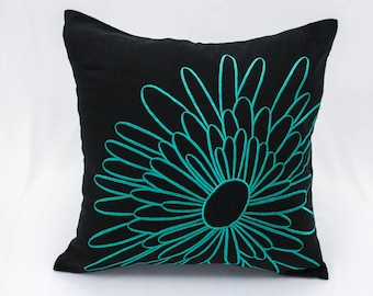 Teal Throw Pillow Cover, Dark Brown Linen Teal Flower Embroidery, Teal Floral Pillow Case, Flower Cushion, Decorative Pillow for couch