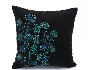Teal Pillow Cover, Flower Throw Pillow Cover, Black Linen Floral Embroidery, Floral Bedding, Home Living Decor, KainKain