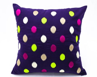 Purple Pillow Cover, Dots embroidery pillow, Modern Contemporary Pillow, Green Fuchsia Beige Pillow Case, Couch Pillow, Home Decor, Cushion