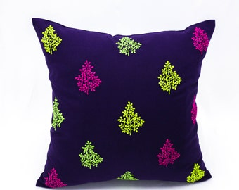 Purple Pillow Cover, Leaves Embroidery, Modern Contemporary Pillow, Green Fuchsia Beige Pillow Case, Couch Pillow, Home Decor, Cushion
