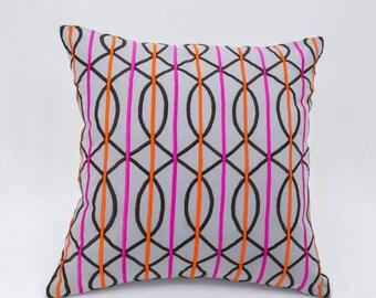 Trellis Throw Pillow Cover, Modern Geometric Pillow, Gray Linen Orange Fuchsia Trellis Embroidery, Contemporary Cushion, Home Decor