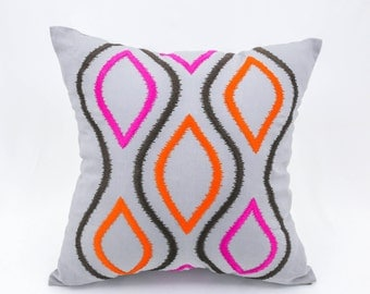 Ikat Throw Pillow Cover, Modern Geometric Pillow, Gray Linen Orange Fuchsia Ikat Embroidery, Contemporary Cushion, Home Decor