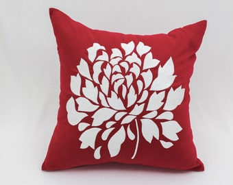 Red Flower Pillow Cover, Red Linen Pillow White Flower Embroidery, Floral Cushion, Flower Bedding, Modern Home Decor, Red Accent Pillow