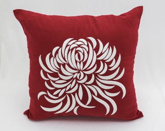 Red Floral Pillow Cover, Red Linen White Chrysanthemum Embroidery, Flower Pillow Case, Couch Pillow, Home Accent, Toss Pillow, Cushion