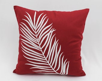 Red White Pillow Cover, Decorative Pillow Cover,Throw Pillow Cover, Red  Linen White Leaves Embroidery, Couch Pillow, Pillow Accent, Cushion