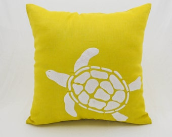 Sea Turtle Throw Pillow Cover, White Turtle Embroidery Yellow Linen Pillow, Nautical Pillow,Cottagpe Decor,Toss Pillow, Sea Life Pillow Case