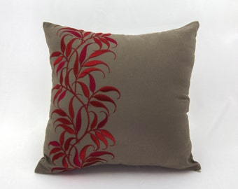 Leaves Pillow Cover, Medium Taupe Linen Pillow Red Leaf Embroidery, Floral Throw Pillow, Red Taupe Pillow Shams, Contemporary pillow